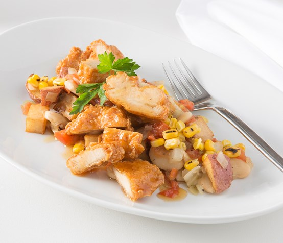Battered Chicken with Southern Succotash image